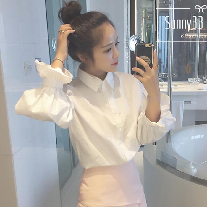 2015 года Осень школы новый ветер слоеного рукав белый рубашки с длинными рукавами Корейский потерять рубашку диких студенток