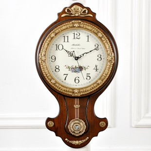 High grade brass clock clocks wall clock living room European style retro luxury town house creative American quartz watch Wall