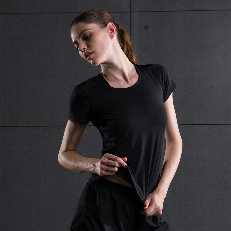 瑜伽服女 速幹透氣彈力緊身衣女短袖跑步T恤訓練服健身衣
