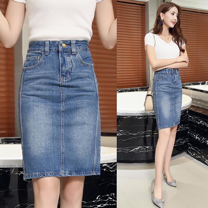 2018夏季新款半身裙女牛仔裙高腰顯瘦中裙彈力包臀裙百搭一步裙子