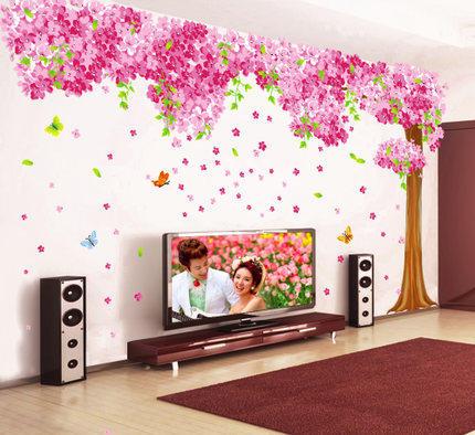 樱花树墙贴画贴纸客厅电视背景墙装饰卧室温馨墙画3D立体墙纸自粘