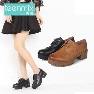 Teenmix/天美意2016秋季专柜同款牛皮革女皮鞋6SR27CM6