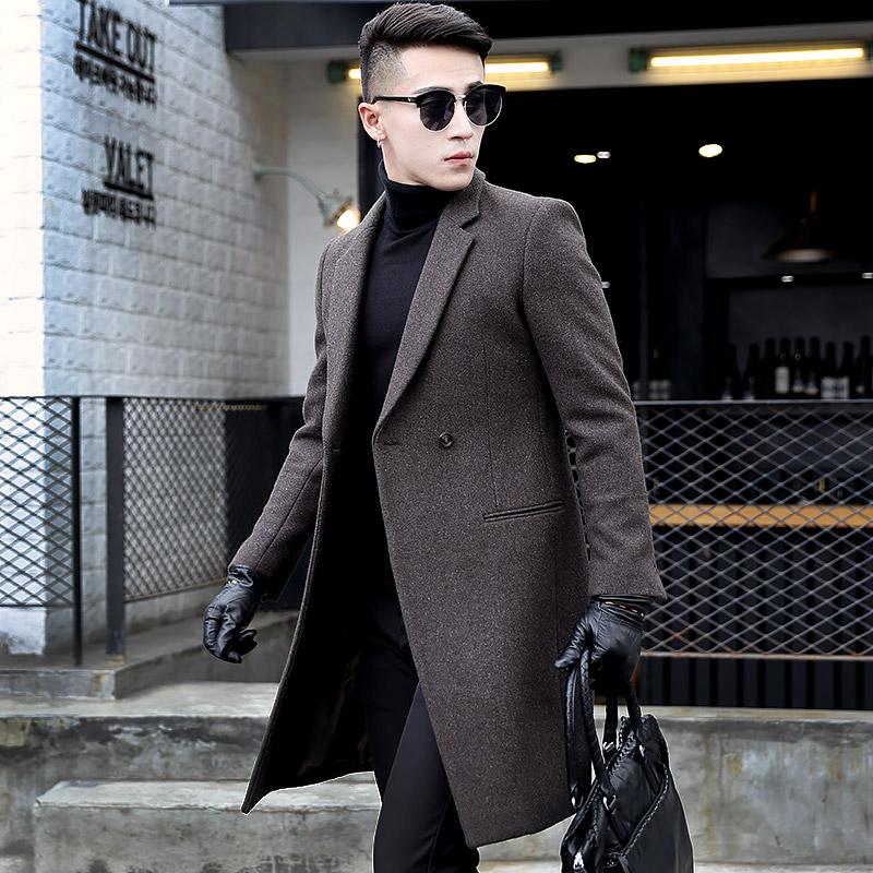 柏特 middot 喬威男士修身長款羊毛呢大衣 風衣呢子外套潮流