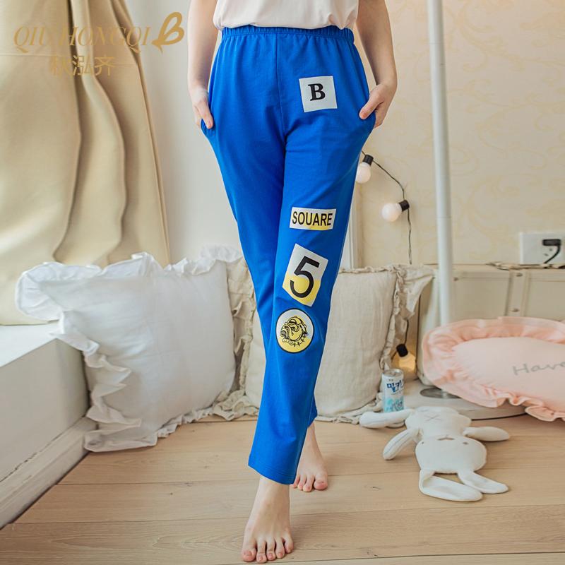 可愛卡通純棉寬鬆大碼長褲