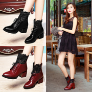 Shield Fox pointed lace leather boots Martin female British wind women lace chunky heels with the ankle boots in new 2015 winter tide