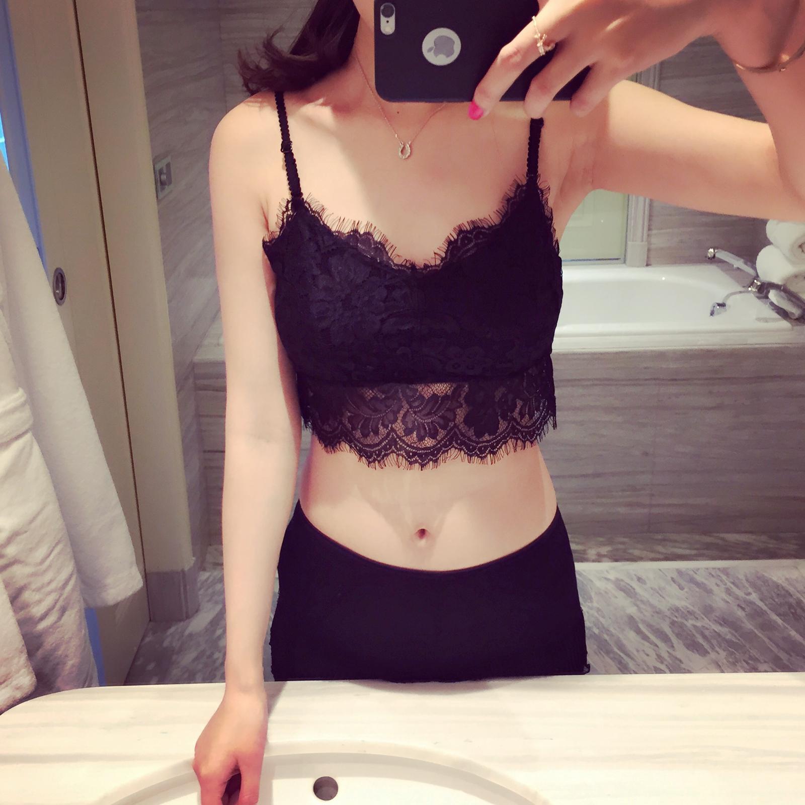 2019春夏季女睫毛蕾丝吊带衫防走光抹胸裹胸 肩带可调节黑色白色