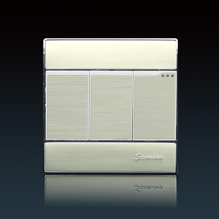 メーカー直販seemeng壁スイッチアウトレットパネル眩しい銀アルミ糸三重スイッチ
