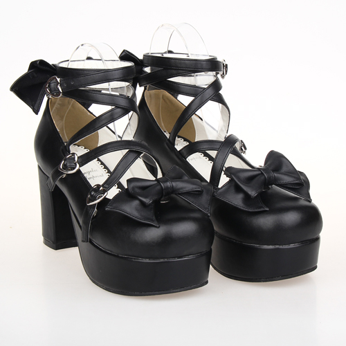COS shoes LOLITA Shoes New Anime maid round rough with bow high-heeled shoes 9803