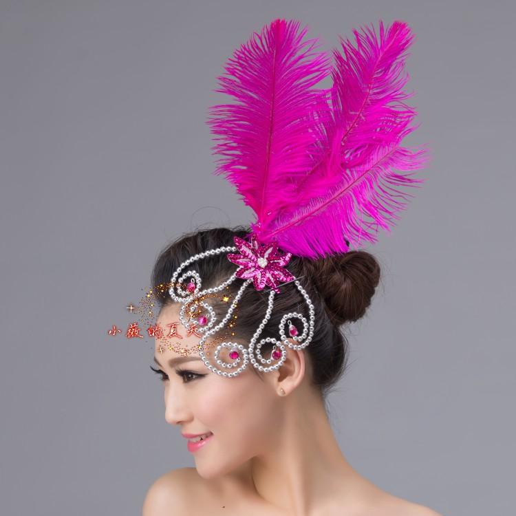 Оптовая костюм головной убор премиум страусиных перьев блесток танца открытия танца танец аксессуары цветок