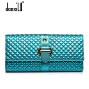 Danxilu ladies wallet large zip around wallet 2015 new Korean version 30 percent Golden rhombic fashion leather women wallet