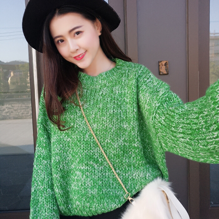 Mohair versatile round neck spring short Pullover social sweater womens loose color knitted lantern sleeves