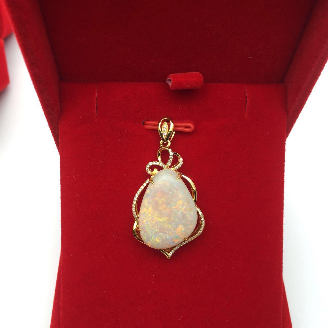 18K Diamond Emerald Color treasure CORAL PEARL tourmaline Opal Ring Pendant Bracelet inlaid jewelry processing customization