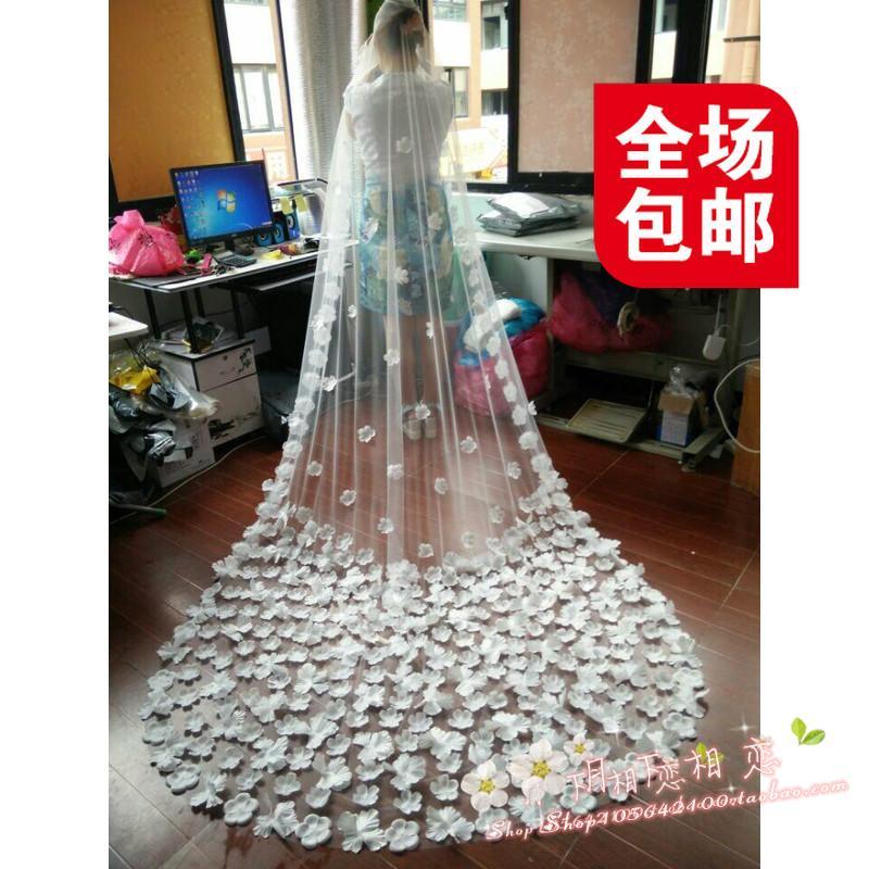 Красивая Свадебная фата новых л супер фея цветок лепестки вуаль 3 m длинные нити, тяжелых хвостатых пакеты почты Фату