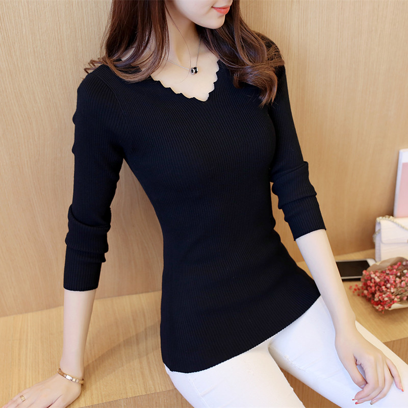 2019 spring new Korean womens Gouhua hollow out T-shirt round neck long sleeve lace nail bead thin solid color sweater