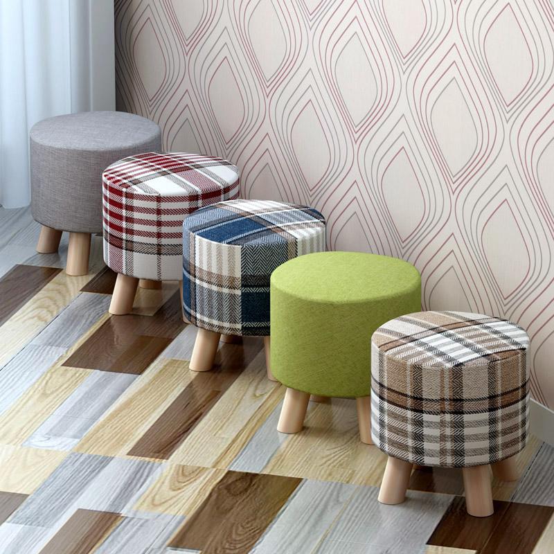 立太 換鞋凳 圓凳穿鞋凳布藝沙發凳板凳小凳子實木矮凳試鞋凳
