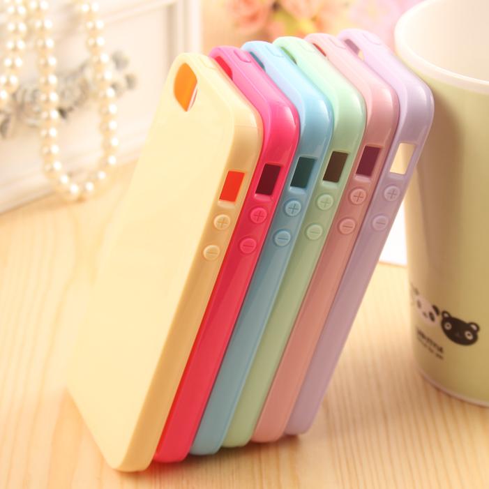 iphone5s/5C可爱纯色糖果情侣硅胶套软壳潮苹果4S手机外壳保护套