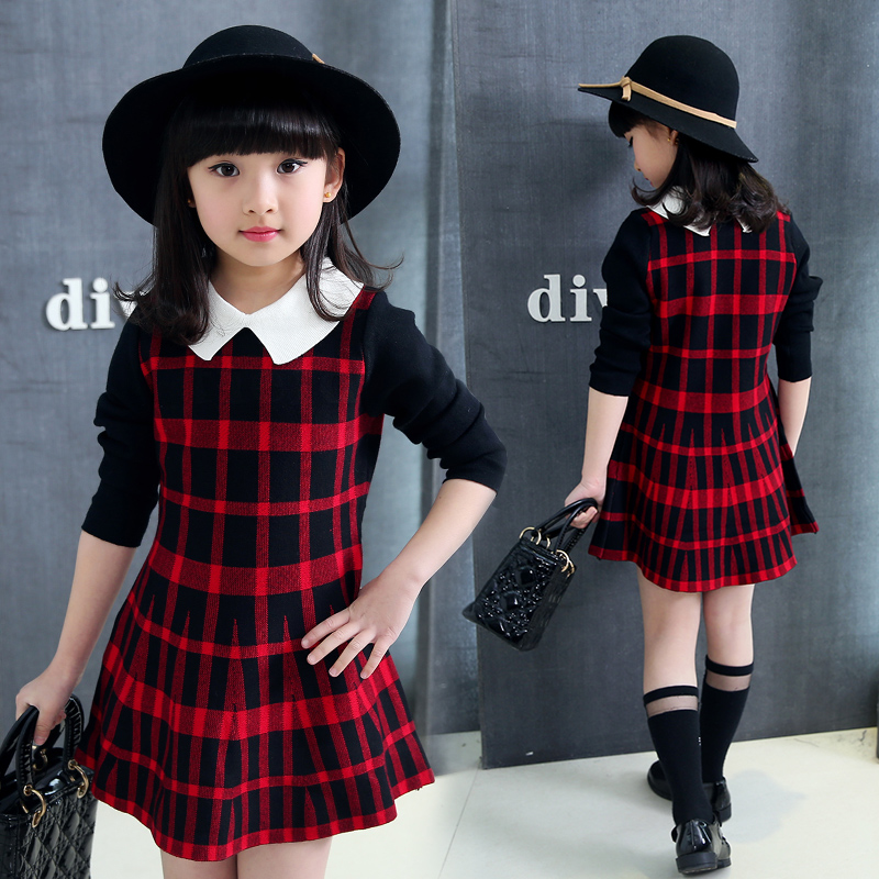 2021 girls and childrens spring and autumn new Plaid square collar foreign fashion sweater long sleeve pleated sweater dress