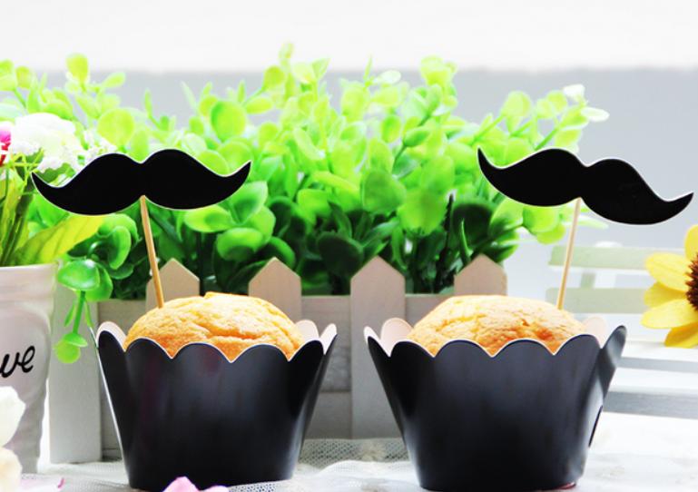 黑色胡子系列烘焙纸杯 蛋糕围边插牌套装12只/包 热卖插片