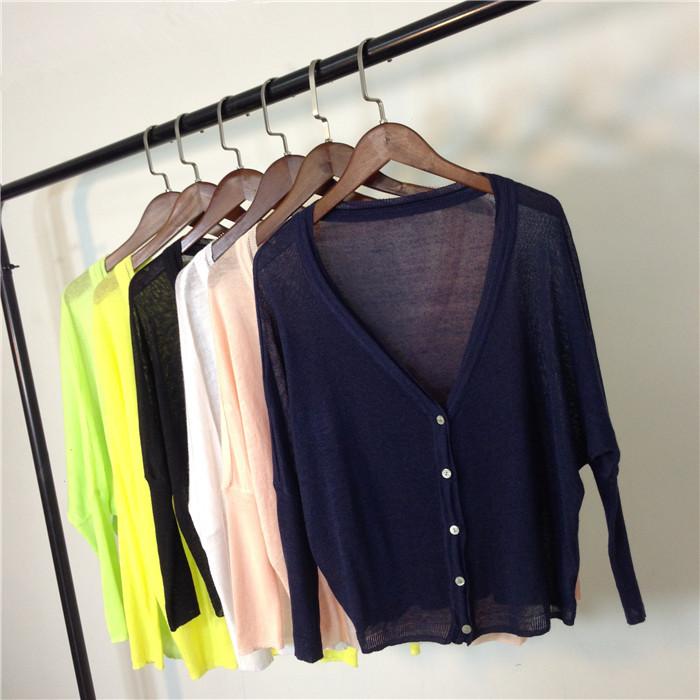 Постельное белье женщин кардиган весной и летом Банные принадлежности рубашку солнце защиты футболка плюс размер короткие битой рукав трикотаж свободные тонкой вне скачков