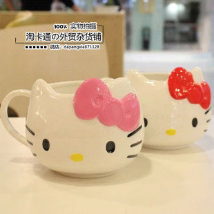 出口外贸hello Kitty 凯蒂猫 陶瓷漱口杯刷牙杯 喝水杯马克杯水杯