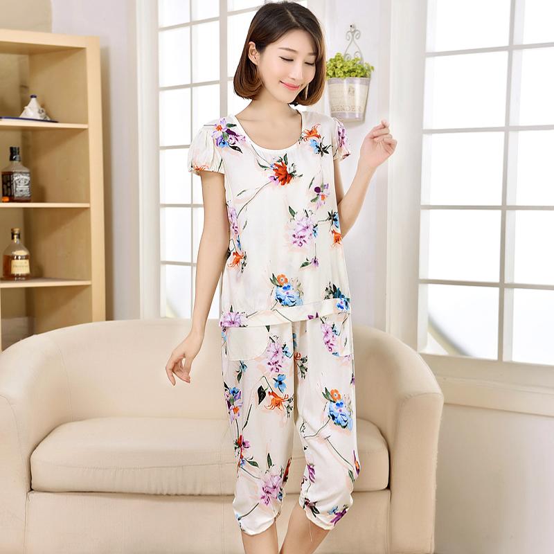 Mei Gaoer женские пижамы хлопок шелка костюм Буре носить дома платье короткий рукав, заданные пижамы свежие обрезанные брюки