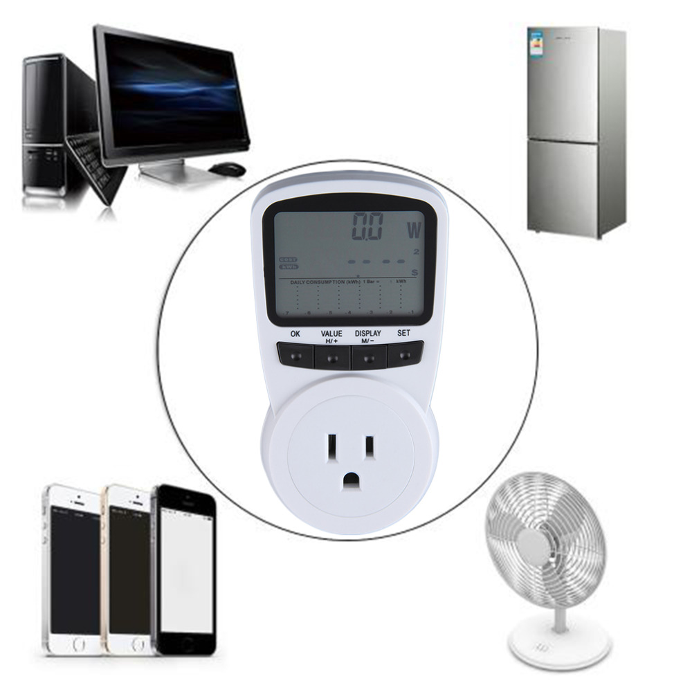 TS-1500 Electronic Energy Meter LCD Energy Monitor Plug-in E