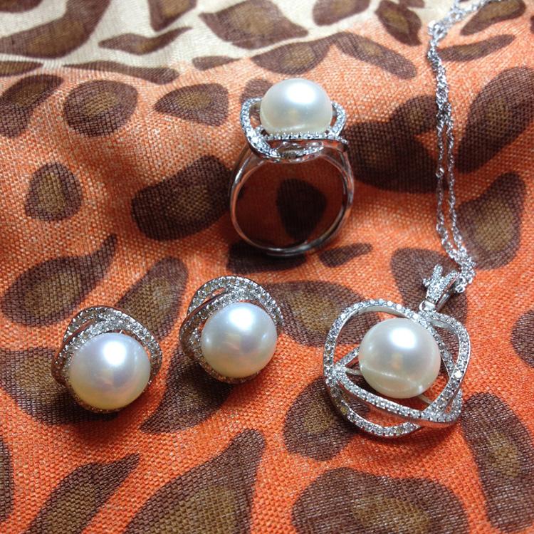 925银天然珍珠吊坠送银项链耳钉戒指套装正品珠宝首饰白色女 包邮