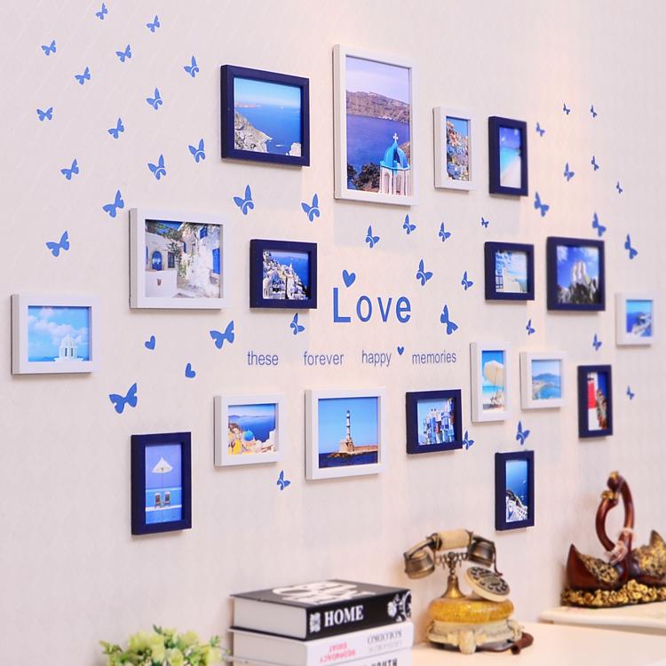 簡約客廳照片牆相框牆歐式相框 兒童相片牆地中海18框