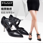 St&Sat/Saturdays-fall 2015 new snake skin tie pointed hollow stilettos shoes SS53117663