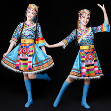 New Mongolian Dance Dress Short Skirt Minority Stage Performance Dress Mongolian Dress Dress Adult Female Summer