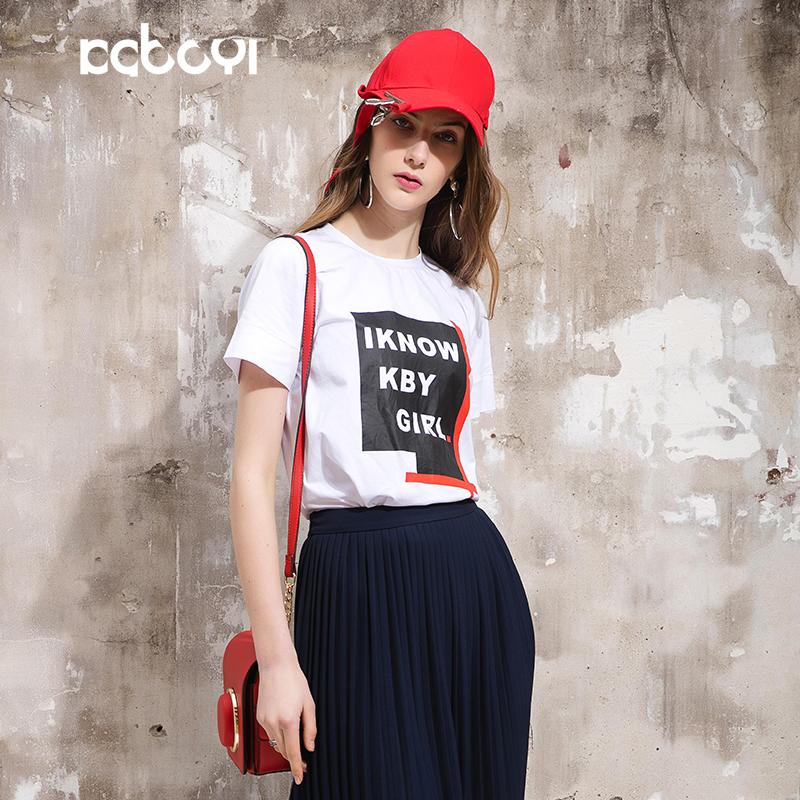 卡布依限量版原创品牌女装专柜同款印花圆领百搭白色短袖T恤女