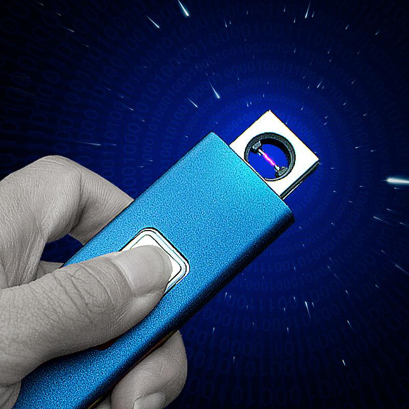焦點超薄 充電打火機防風 男女金屬USB電弧點煙器