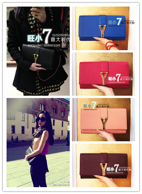 7ee06262e224 [ Wang ] genuine counter purchasing small 7 YSL Yves Saint Laurent y metal buckle  leather. Loading zoom