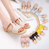 夏季女士厚底一字拖坡跟韩版沙滩时尚休闲外穿平底凉拖鞋潮女鞋子