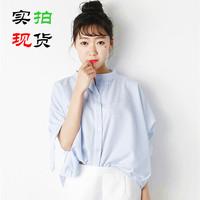 实拍夏季时尚不规则小清新蝴蝶结袖百搭衬衫 女 571