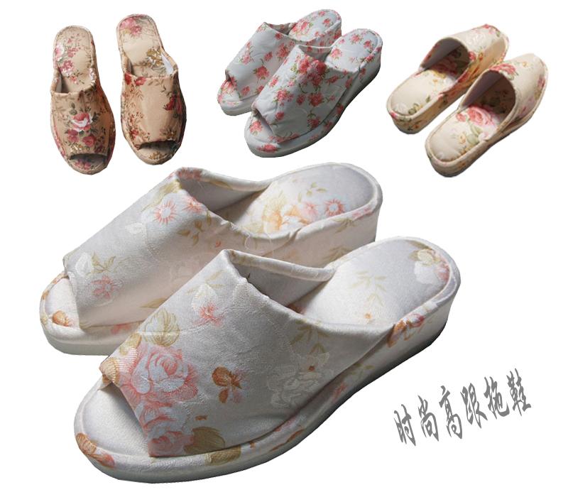 爆款限时疯抢2012流行款室内拖鞋居家春夏季高跟地板红花系列女款