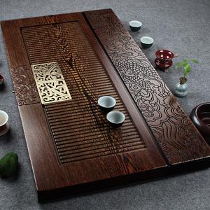 神雕整块实木茶盘鸡翅木茶海单层排水式功夫茶具红木大号办公茶台