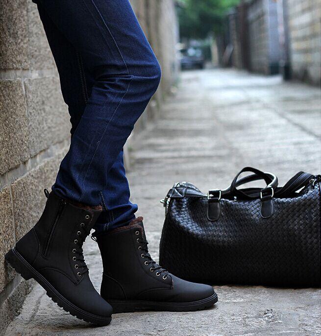Зимняя обувь мужчин корейской версии Англии Мартин Туфли мужские туфли на высоких тенденция халаты, теплая зима и кашемир пинетки