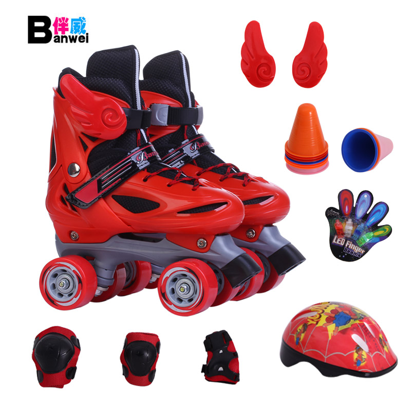 Спутник престиж четырехколесный двойной коньки ребенок двойной коньки катание на коньках обувной коньки двойной стороной засуха коньки бесплатная доставка