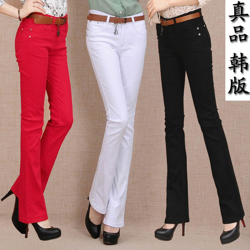 Spring and autumn new student micro pants female jeans elastic slim white pants Korean versatile wide leg pants
