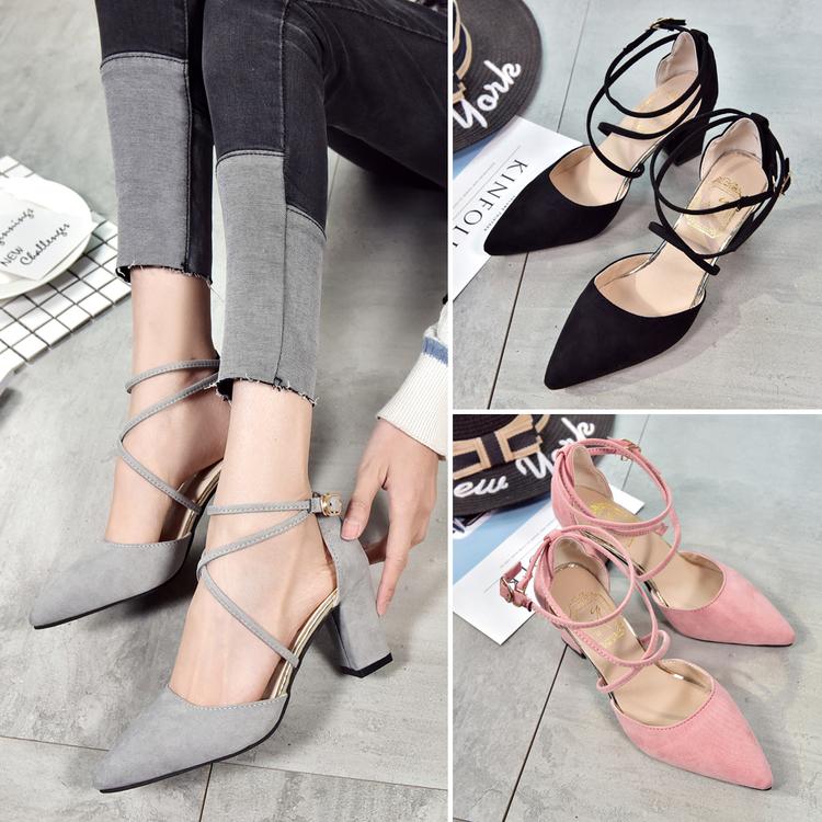 韓版2018新款粗跟涼鞋女夏尖頭高跟鞋交叉綁帶簡約性感淺口女鞋潮