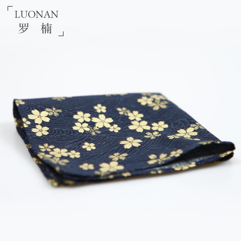 男士西装深蓝色口袋巾原创印花金色樱花日系男士西装配饰