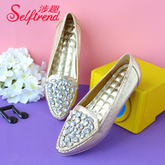 Fun fall 2015 involved new European and American metallic rhinestone pointy flat shoes women love shoes T01610