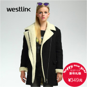 Westlink/West New 2015 winter imitation lambs wool lapel long wool coats in thick woman coat