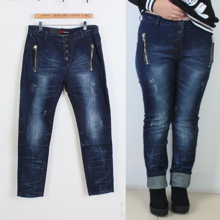 Специальное предложение плюс размер джинсы молния небольшие прямые плюс удобрения XL женщин брюки темные тонкие джинсы женщин