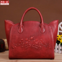 Show a original new leather women bag handbag bag-style hand-shoulder bags diagonal with large hands