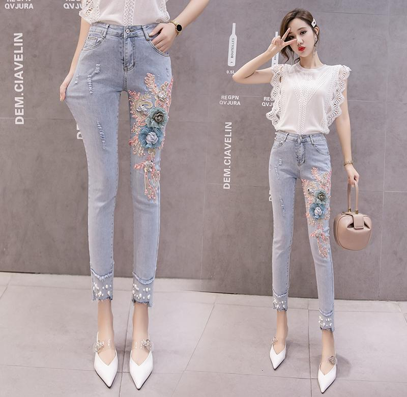 ? Pearl embroidered jeans womens spring and summer 2020 new womens wear pants show thin, versatile nine point small foot pencil