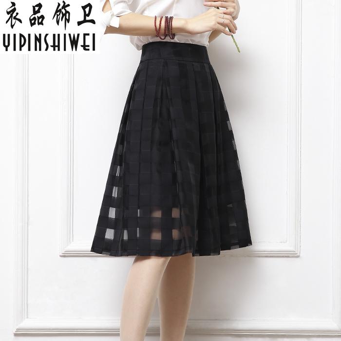欧根纱百褶裙半身裙黑色格子中长款高腰蓬蓬纱裙中裙百折裙女夏季