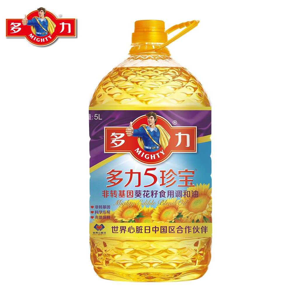 ~天貓超市~多力 5珍寶非轉基因葵花籽食用調和油 5L 科學壓榨