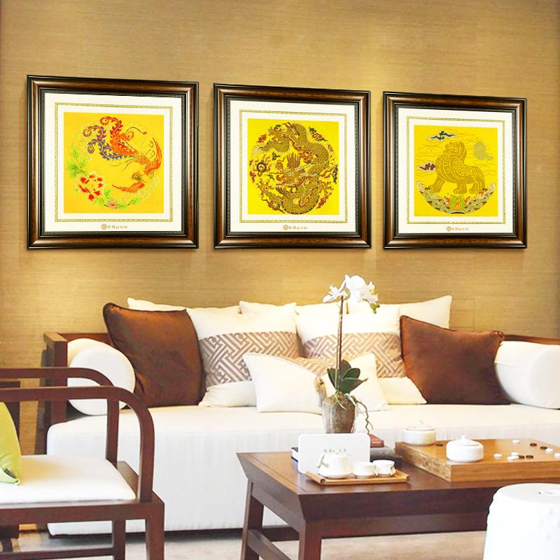 云锦现代新中式画客厅装饰画卧室书房壁画玄关沙发背景墙三联挂画